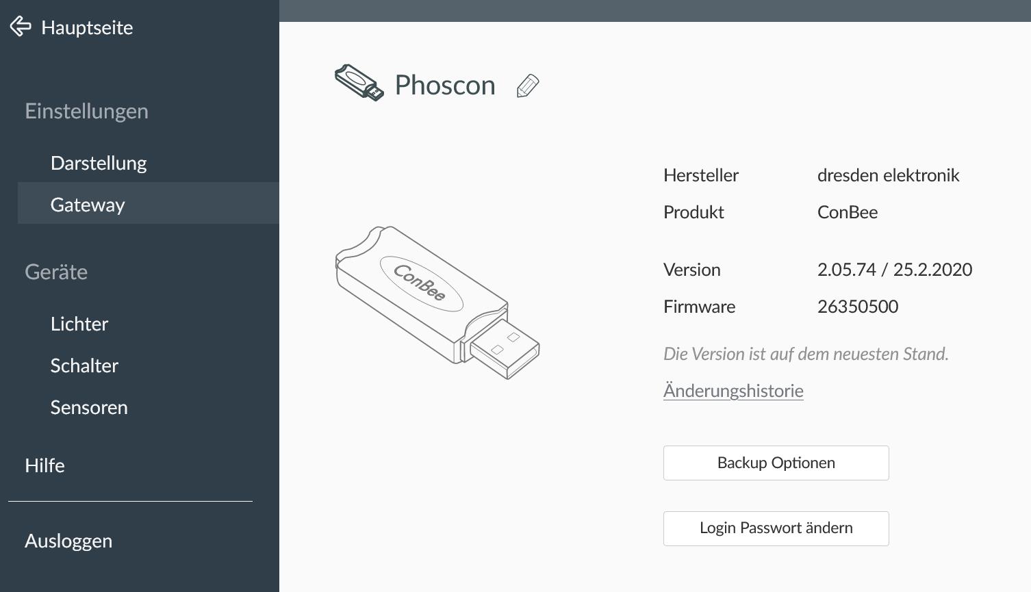 ConBee Adapter in Phoscon-Oberfläche