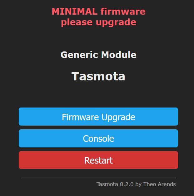 Tasmota Minimal - Warnung