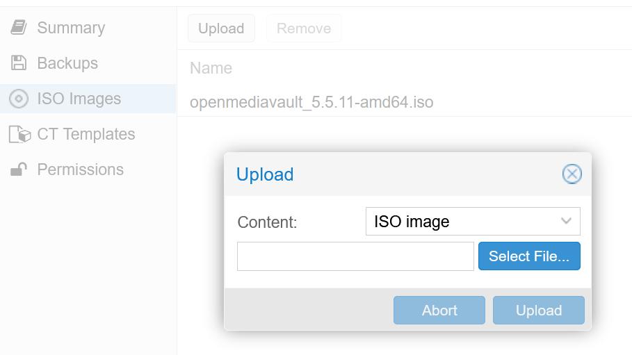 Upload des OMV ISO-Image