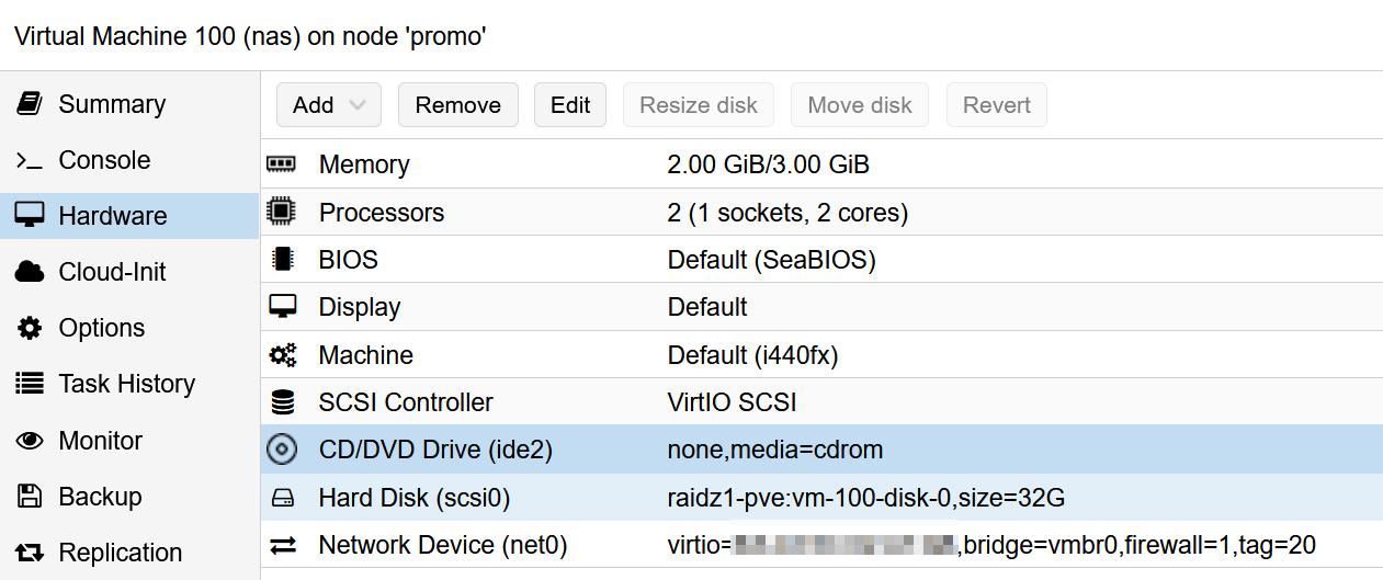 Parameter für die openmediavault-VM