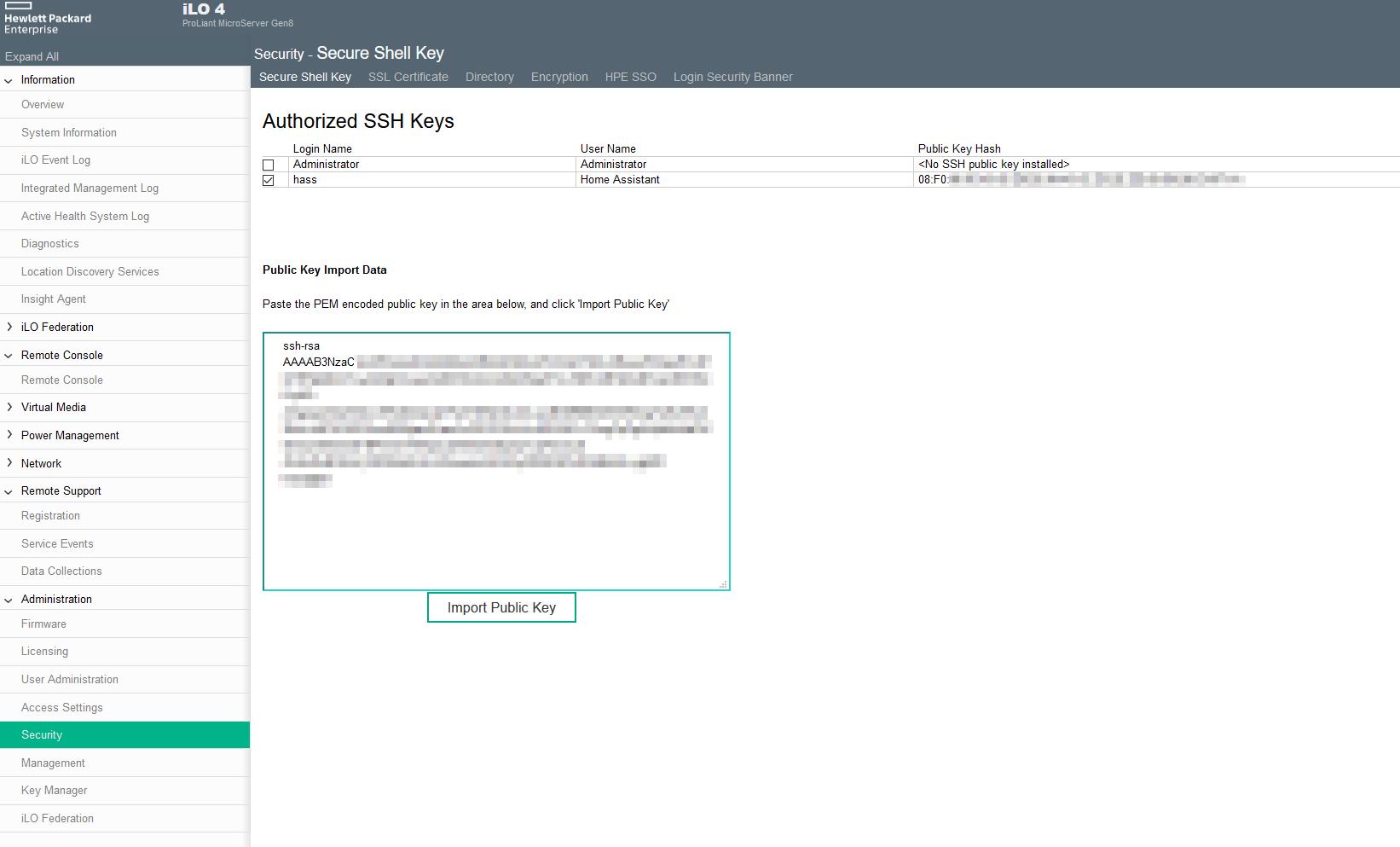 SSH-Key in ILO-Interface hinterlegen