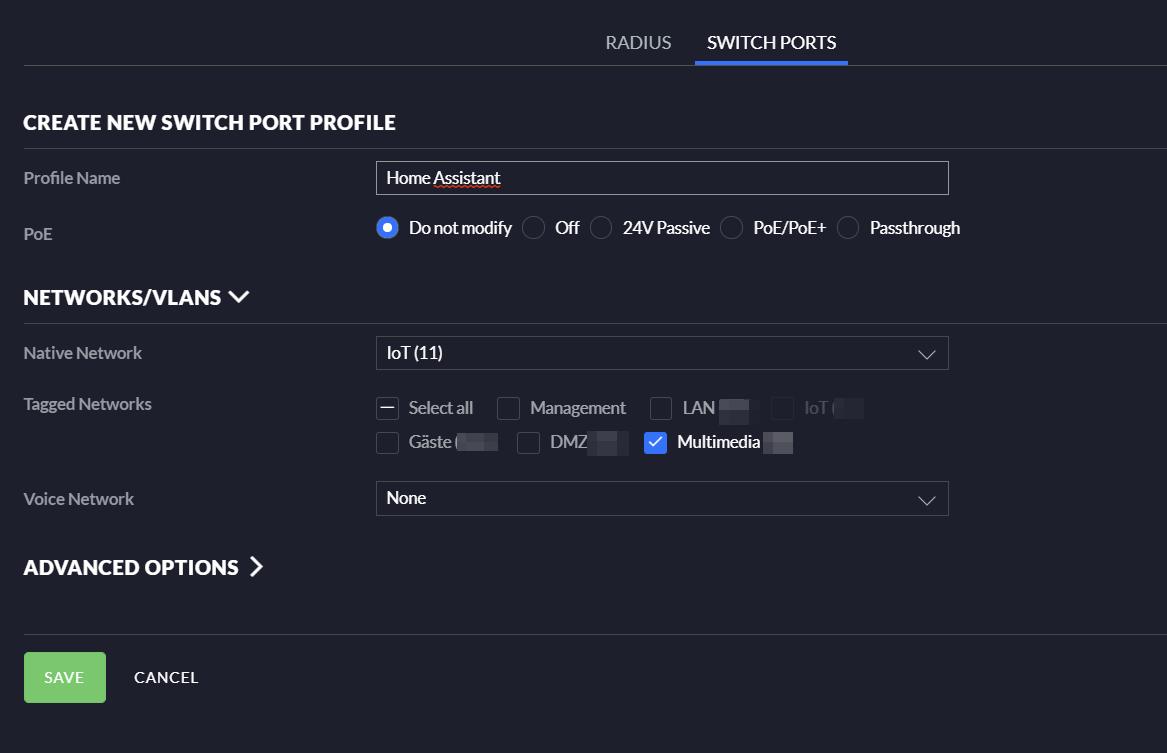 Anlegen eines Switch Port Profils in Unifi Management