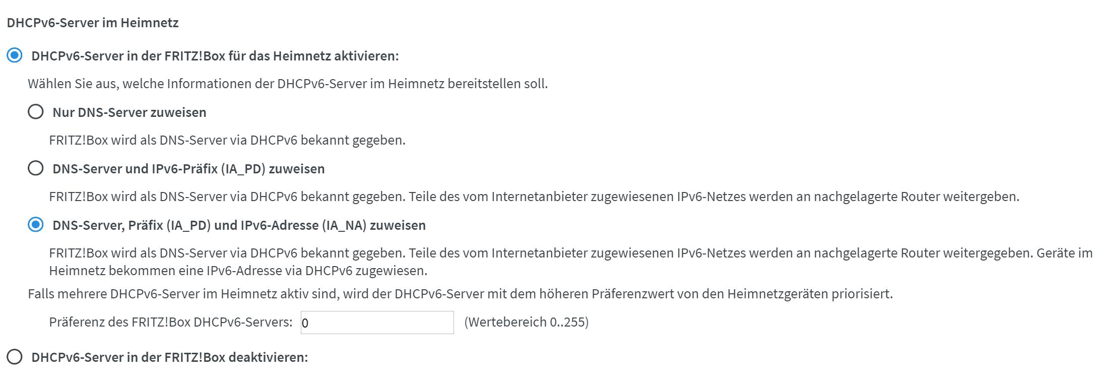 DHCPv6 Einstellungen