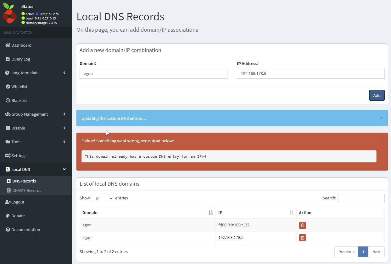 Pi-hole - Local DNS Record