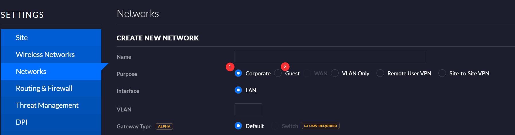 Unifi Network > Settings > Network > Create Network