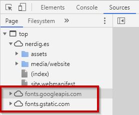Google Fonts Aufrufe in den Entsicklertools von Chrome
